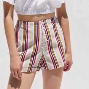 Urban Outfitters Molly Striped Button Fly Shorts